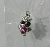 323 Маленький кулон сова на силиконовой нити с замком, кулоны и подвески