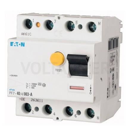 Пристрій захисного відключення PF7-40/4/05 (263589) Eaton, фото 2