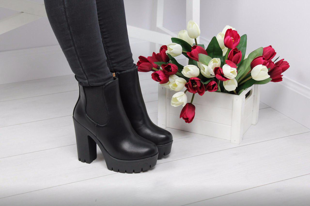 Ботильоны женские на каблуку (черные)
