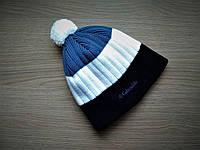 Зимняя шапка с бубоном Columbia Black/Blue/White
