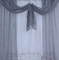 Занавесь шторки с гардиной, цвет серый с белым. Код 048к (У)