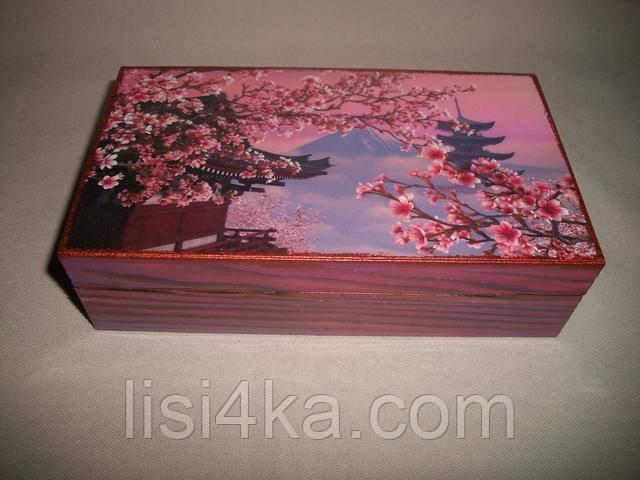 Деревянная шкатулка темно-розовая купюрница в восточном стиле