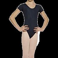 Купальник гимнастический УКРАИНА (короткий рукав , темно-синий, эластан)