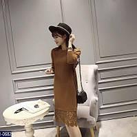 Коричневое трикотажное прямое платье миди с гипюром. Арт-11102