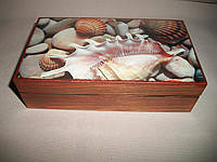 """Деревянная шкатулка-купюрница ручной работы """"Морские камешки"""", фото 1"""