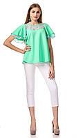 Женский трикотажный блузон с кружевом. Модель К077_ментоловый., фото 1