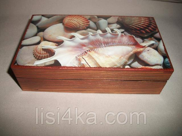 Деревянная коричневая шкатулка купюрница в морском стиле