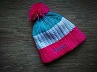 Зимняя шапка с бубоном Columbia Blue/White/Pink