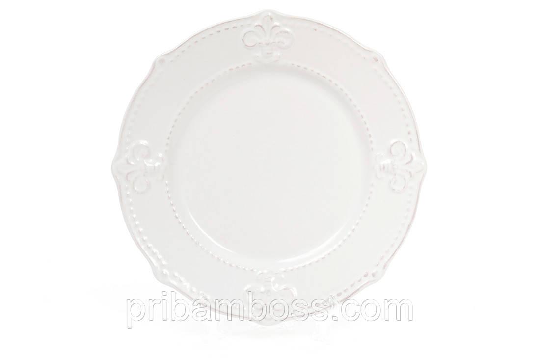 Тарелка керамическая десертная 21.5см Королевская лилия, цвет - белый 6 шт.