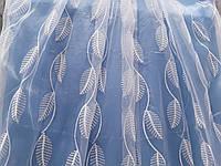 """Белый тюль с белой вышивкой """"лиана"""" (Китай), фото 1"""