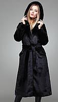 Длинная шуба женская из искусственного меха норки с капюшоном.