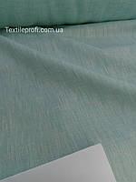 Льняная меланжевая ткань светло - бирюзового цвета, фото 1