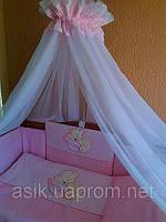 Детская постель TuttoLina Sleeping Bear (7 элементов)розовый (мишка на подушке) 52, фото 1