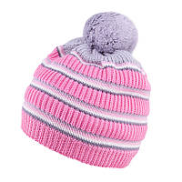 Детская зимняя шапка в полоску с помпоном