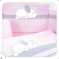 Детская постель TuttoLina Sleeping Cat (7 элементов) розовый-серый (кот спит) 66