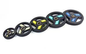 Млинці (диски) поліуретанові з хватом і металевою втулкою d-51мм TA-5344-15 15кг (чорний), фото 2
