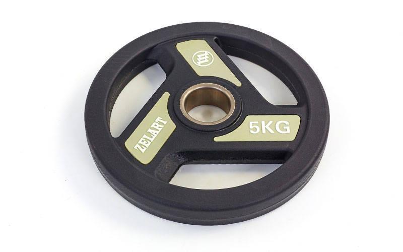 Млинці (диски) поліуретанові з хватом і металевою втулкою d-51мм TA-5344 - 5 5кг (чорний)
