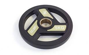 Млинці (диски) поліуретанові з хватом і металевою втулкою d-51мм TA-5344 - 5 5кг (чорний), фото 2