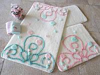 Набор ковриков в ванную из акрила прорезиненные