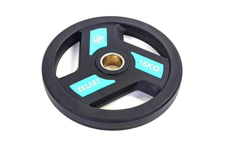 Блины (диски) полиуретановые с хватом и металлической втулкой d-51мм TA-5344-15 15кг (черный)