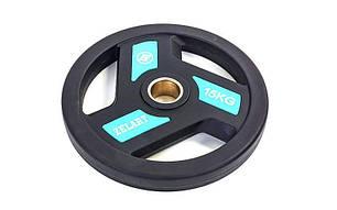 Блины (диски) полиуретановые с хватом и металлической втулкой d-51мм TA-5344-15 15кг (черный), фото 2