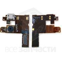Шлейф для мобильного телефона Nokia 6500c, коннектора зарядки, динамика, с компонентами, с камерой