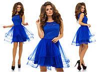 Шикарное платье верх гипюр низ пышная фатиновая юбка, цвет электрик