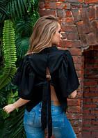 Рубашка свободного кроя с бантом черная