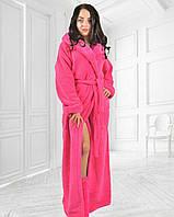 Женский длинный махровый халат с капюшоном