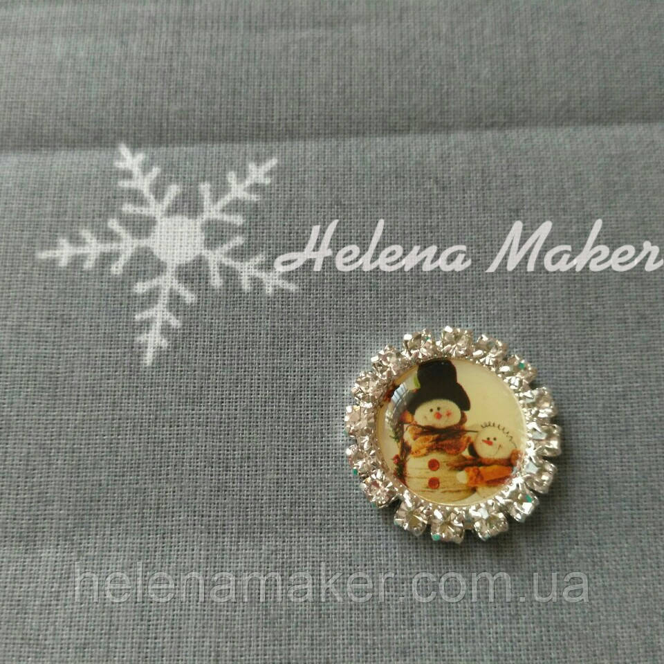 Новогодний кабошон Снеговик