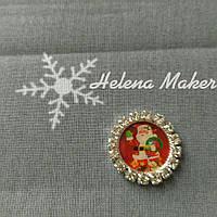 Новогодний кабошон Санта с подарками