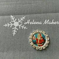 Новогодний кабошон Дед мороз с подарком