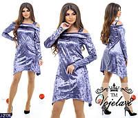 Нарядное велюровое платье, асимметрия, открытые плечи, разные расцветки, стандартные размеры