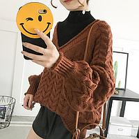 Женский вязаный пуловер с V-образным вырезом