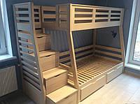 Двухярусная кровать со ступеньками ящиками Лесная, массив ясень, фото 1