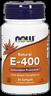 Натуральный витамин E-400 с разными типами токоферола, Now Foods, 50 softgels