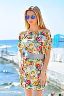 Женское летнее платье мини с открытыми плечами