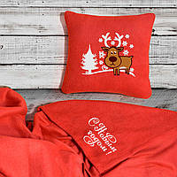 """Новогодний набор: подушка + плед """"Новогодний олень!"""" 06 цвет на выбор"""
