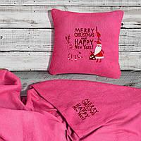 "Новогодний набор: подушка + плед ""Merry Christmas and Happy New Year"" 07 цвет на выбор"