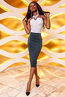 Женская юбка-карандаш Лурдес изумруд Jadone Fashion 42-48 размеры