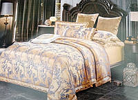 Евро комплект шелкового постельного белья из жаккардового шелка золотой
