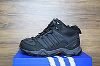 Зимние Кроссовки Мужские Adidas TERREX черные полностью (шнурок-стяжка) 3123