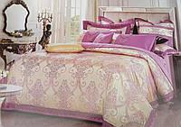 Евро комплект шелкового постельного белья из жаккардового шелка золотой/фиолетовый