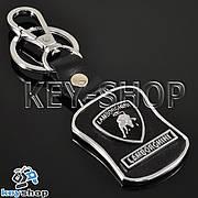 Кожаный брелок с карабином для авто ключей Lamborghini (Ламборджини)