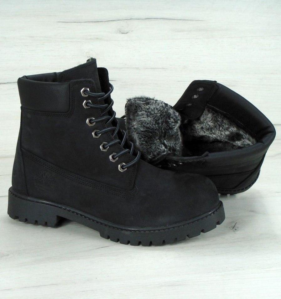 Зимние ботинки Timberland Black с мехом (Реплика ААА+) - Интернет магазин  обуви Sunday 98241b153cc