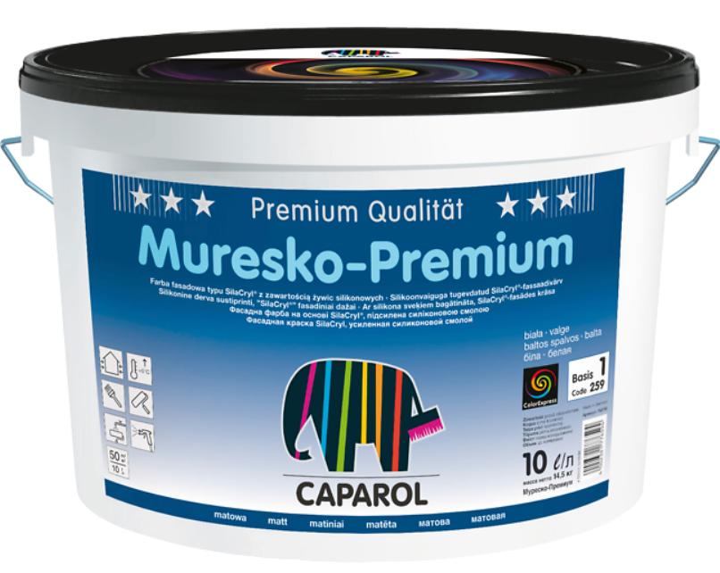 Краска силикон-акриловая CAPAROL MURESKO-PREMIUM фасадная, B1-белая, 10л