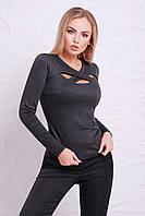 Оригинальная трикотажная женская кофточка, серая, размер 48