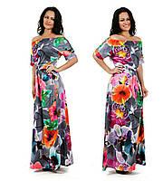 Женское летнее платье в пол с цветочным принтом, фото 1