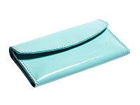 Кожаный кошелек «Евника» светло-голубой