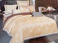 Комплект роскошного, благородного, шелкового постельного белья из жаккардового шелка золотой с розами